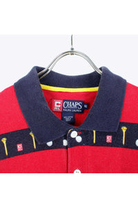 90'S S/S BORDER GOLFBALL POLO SHIRT / NAVY/RED【SIZE:XL USED】【金沢店】