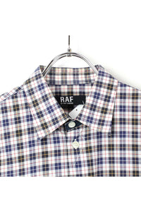 MADE IN ITALY L/S CHECK SHIRT / NAVY WHITE [SIZE: S USED][金沢店]