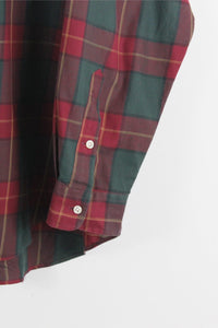 90'S L/S COTTON CHECK SHIRT / RED GREEN【SIZE:XL USED】【金沢店】