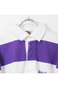 90'S RUGBY SHIRT / WHITE PURPLE [SIZE: S USED][金沢店]