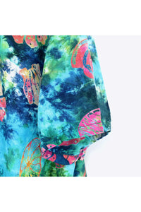 90'S S/S TIE DYE HAWAIIAN SHIRT / GREEN【SIZE:M USED】【小松店】