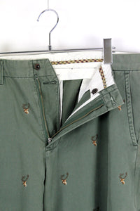 CHINO PANTS DEER EMBROIDERY / OLIVE [SIZE: W34xL32 USED] [金沢店]