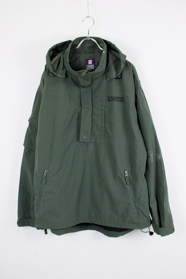 90'S PULLOVER NYLON HOODIE JACKET / DARK GREEN [SIZE: L USED] [金沢店]