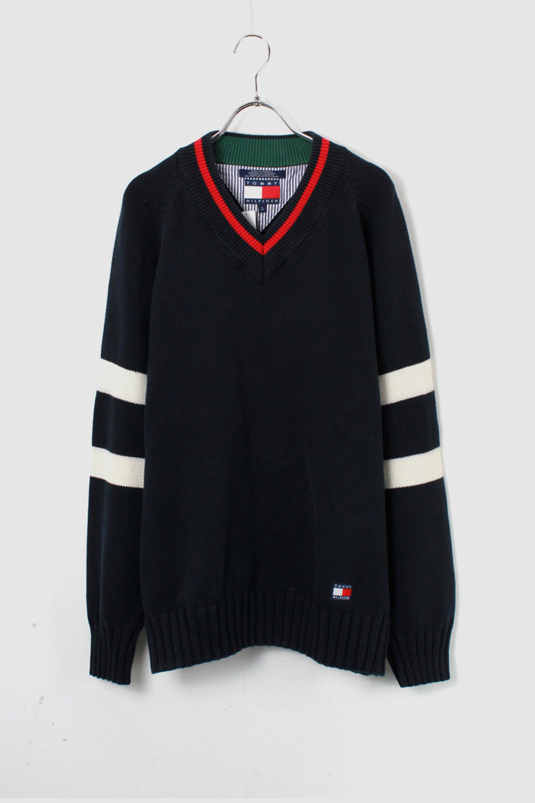 90'S V-NECK RAGLAN COTTON SWEATER / NAVY [SIZE: M USED]