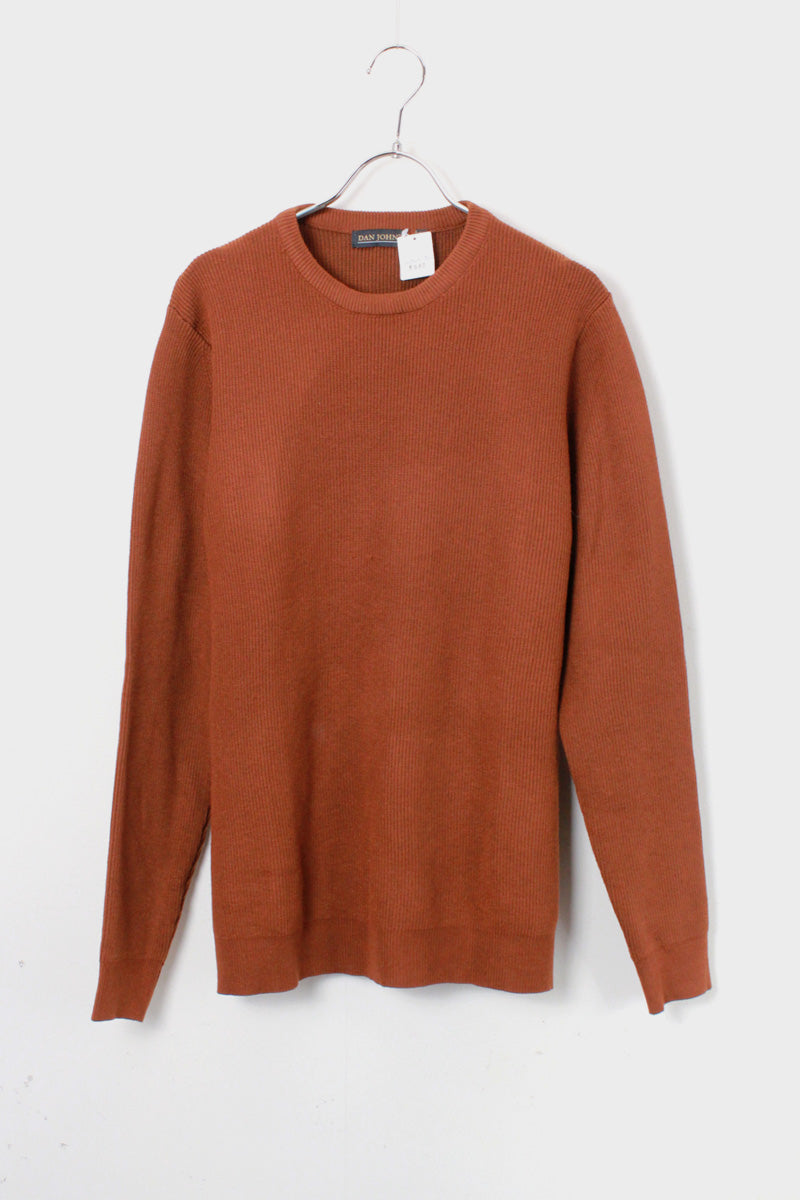 CREW NECK COTTON RIB KNIT / BROWN [SIZE: M USED]