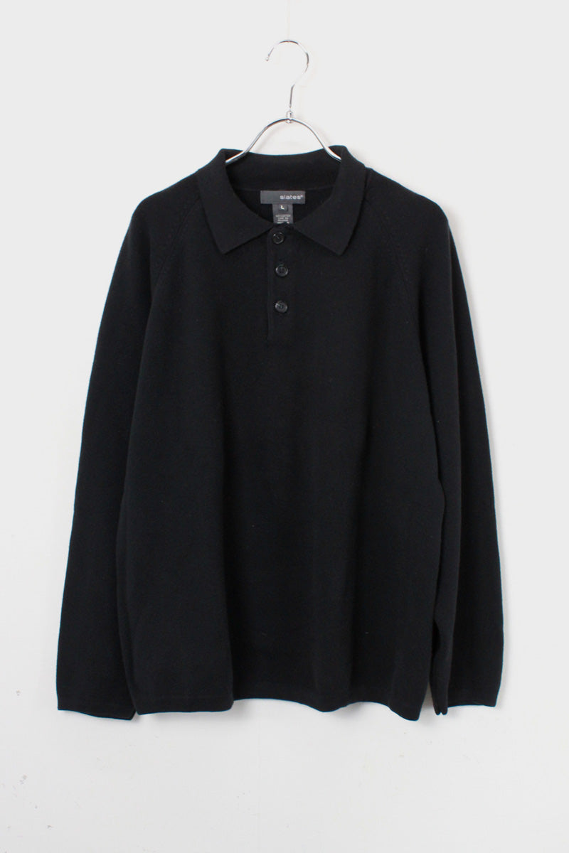 L/S COTTON KNIT POLO SHIRT / BLACK [SIZE: L USED]