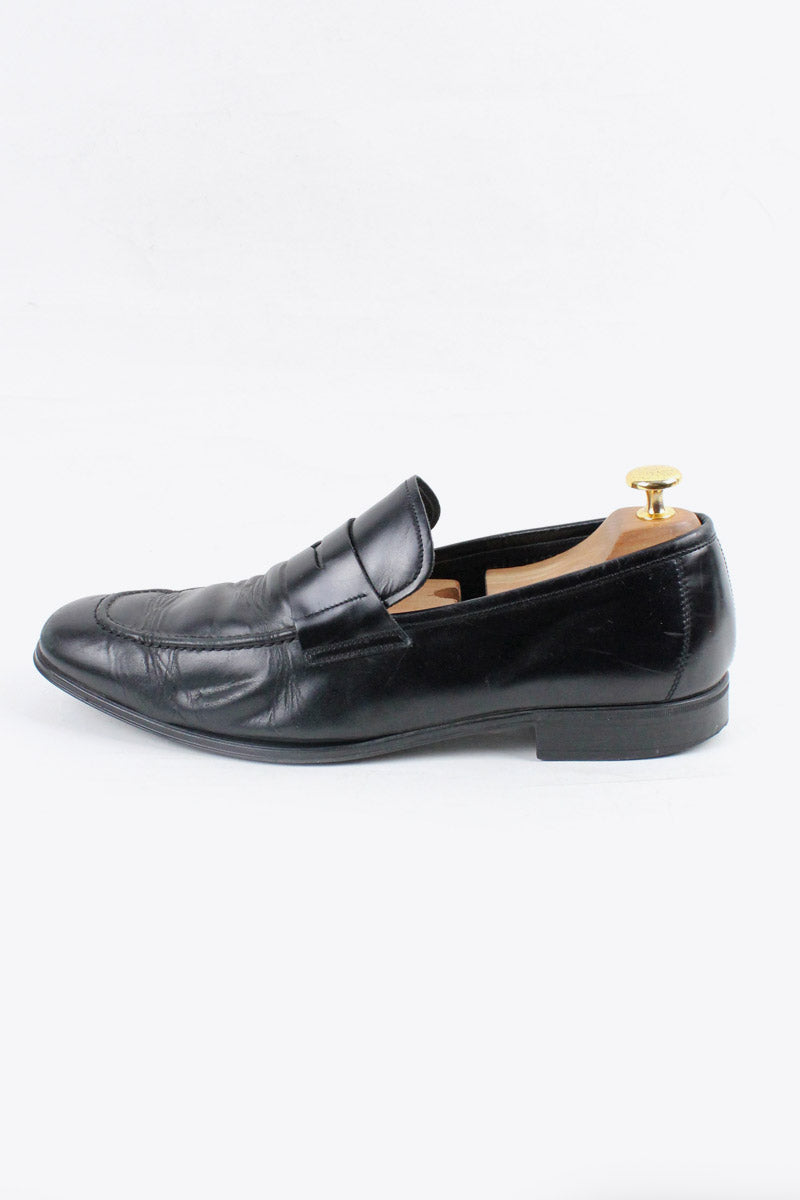 MADE IN ITALY LEATHER COIN LOAFER / BLACK [SIZE: 8.5(2E) (26.5cm相当) USED][金沢店]