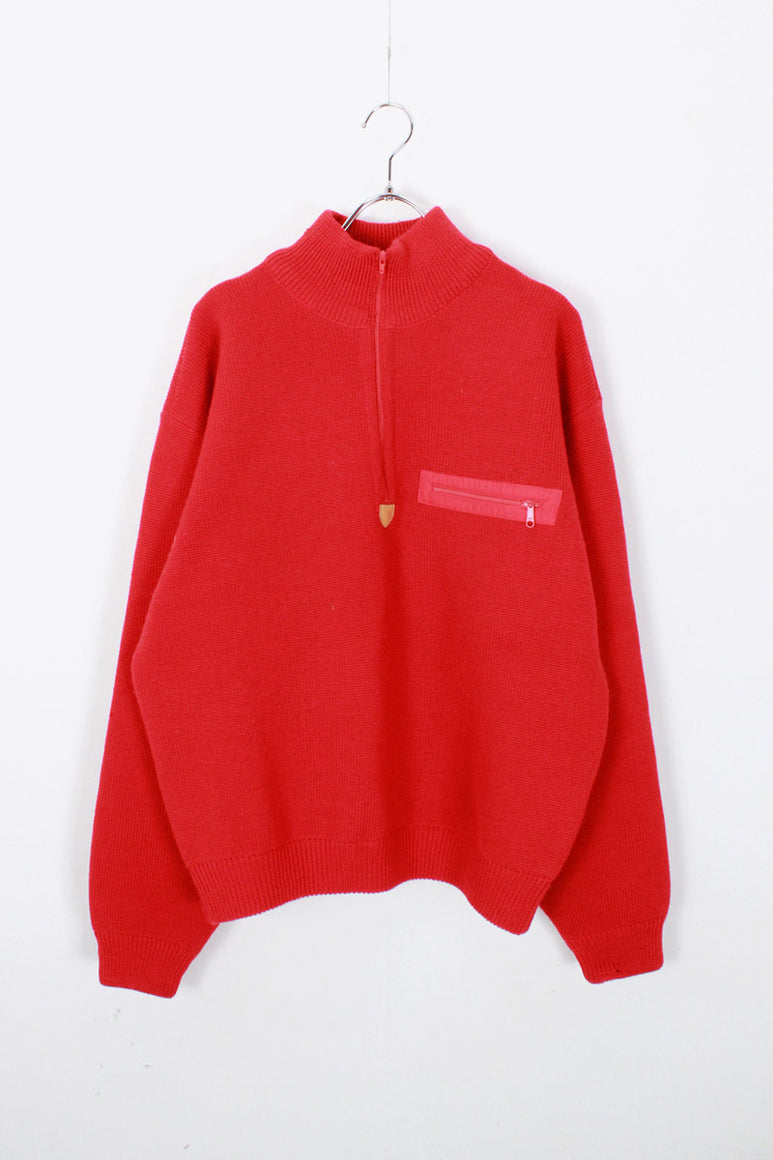 90'S HALF ZIP WOOL SWEATER / RED [SIZE: M USED]