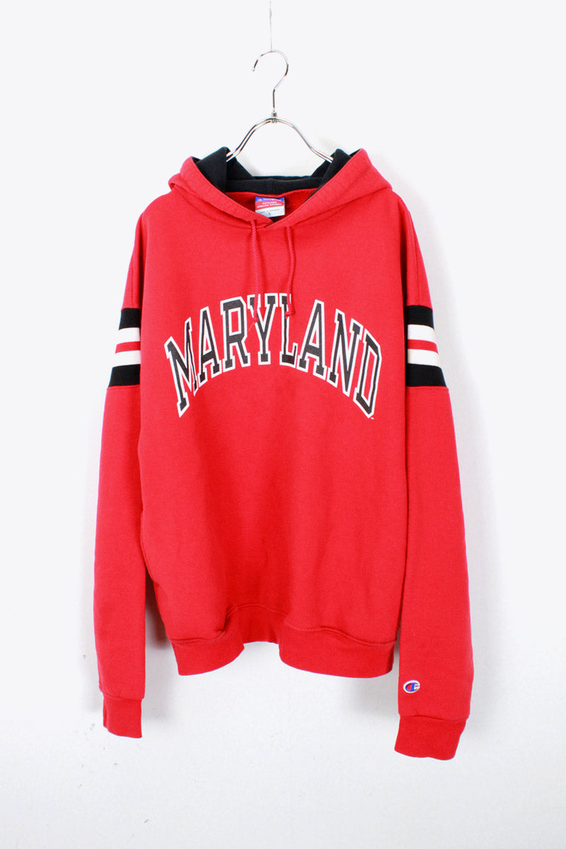 MARYLAND COLLEGE SWEAT HOODIE / RED [SIZE: L USED]