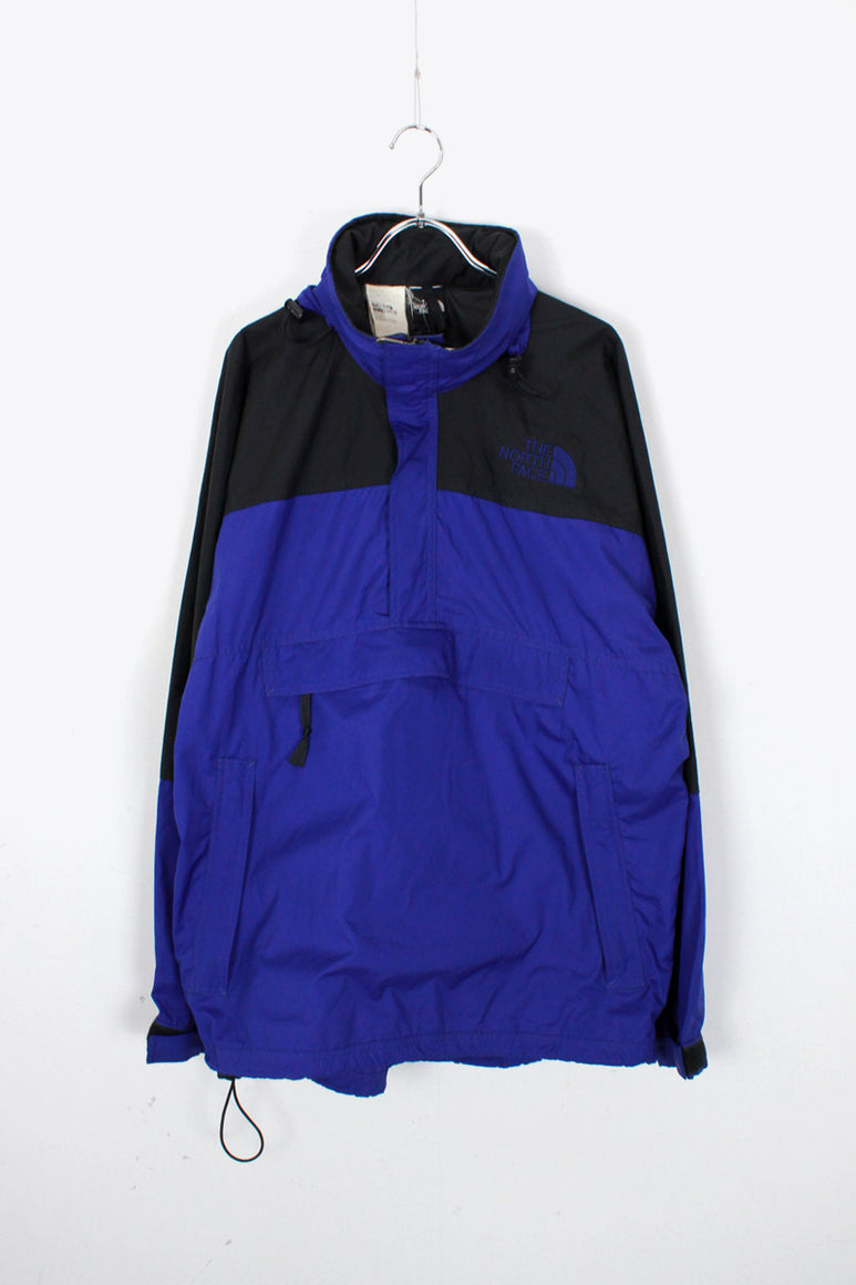 90'S PULLOVER NYLON HOODIE JACKET / BLACK / BLUE [SIZE: M USED]