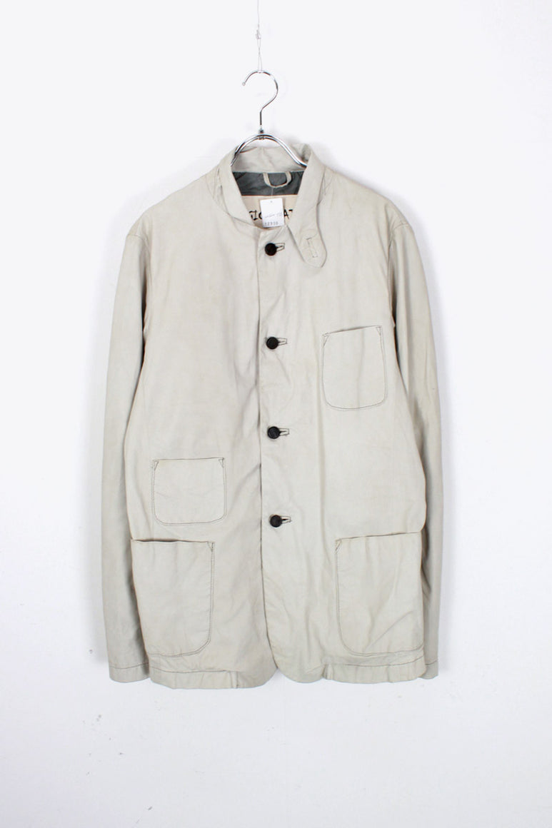 MADE IN ITALY L/S LEATHER SHIRT JACKET / OFF WHITE [SIZE:  44 USED]