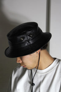 GENUINE COWHIDE LEATHER BUCKET HAT / BLACK [NEW]