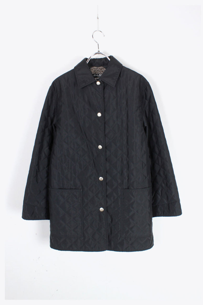 MADE IN ITALY GRAPHIC LINNER NYLON QUILTING JACKET / BLACK [SIZE: XS USED]