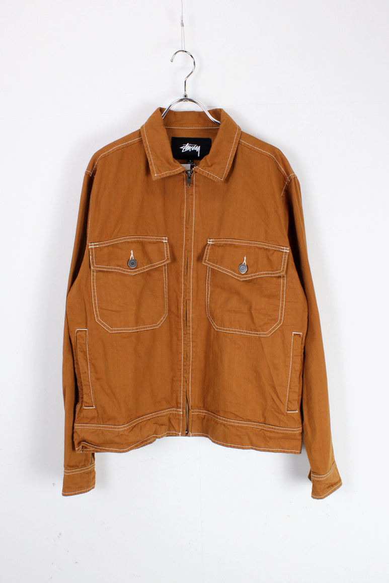 COTTON WORK ZIP UP JACKET / COYOTE [SIZE: S USED]