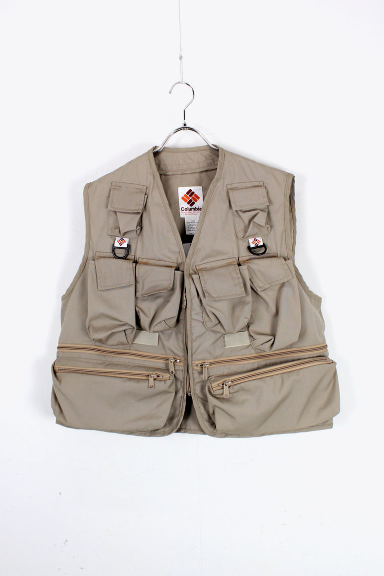 80'S HUNTING VEST / BEIGE [SIZE: L DEAD STOCK]