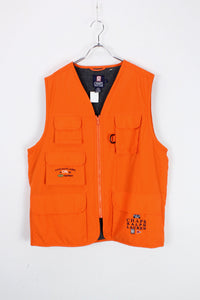 90'S NYLON LOGO HUNTING VEST W/FLEECE LINER / NEON ORANGE [SIZE: L USED]