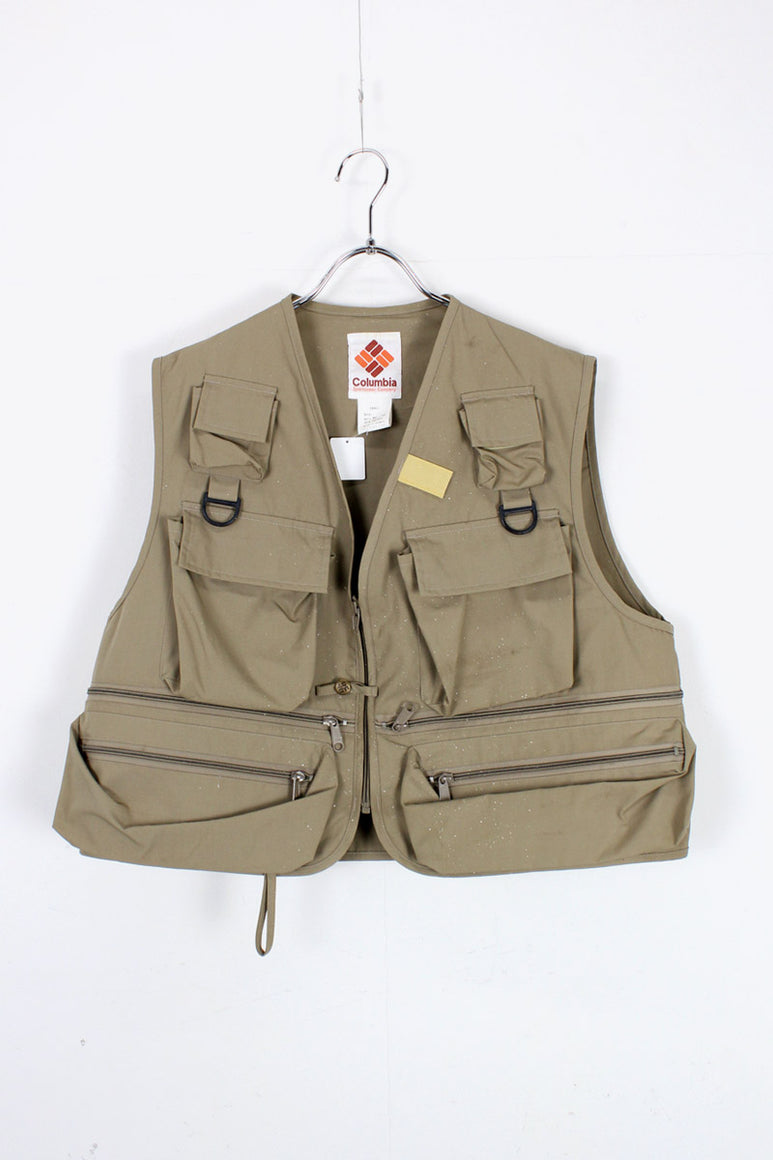 80'S HUNTING VEST / BEIGE [SIZE: L USED]