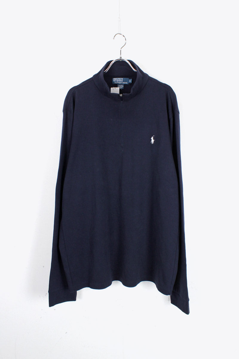 90'S HALF-ZIP L/S T-SHIRT / NAVY [SIZE: XL DEAD STOCK]