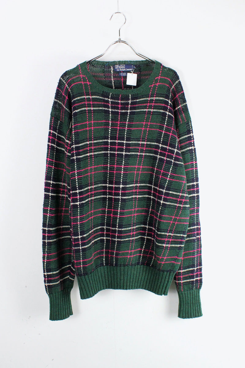90'S LINEN CHECK SWEATER [SIZE: LUSED]