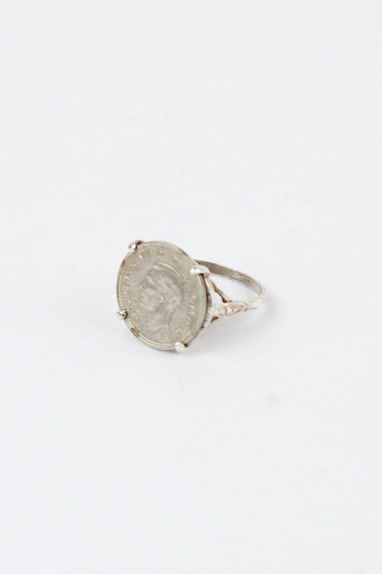 POUND COIN SILVER RING [SIZE: 15号相当 USED]