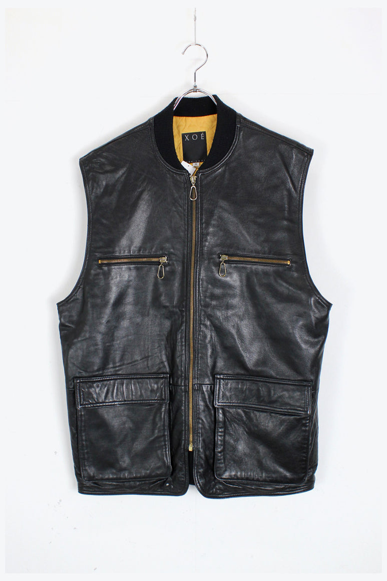 MADE IN USA LEATHER VEST / BLACK [SIZE: M USED]