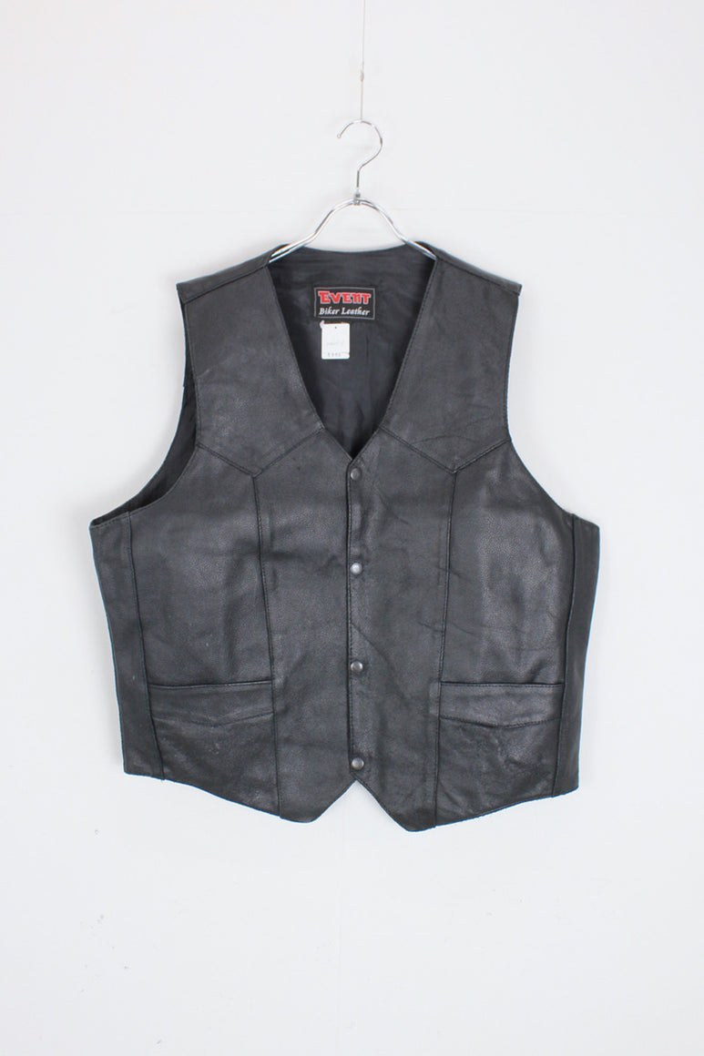LEATHER VEST / BLACK [SIZE: XL USED]