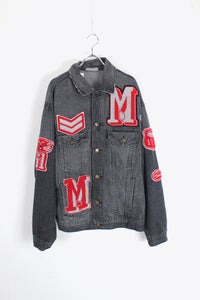 MADE IN ENGLAND 3RD EMBLEM DESIGN DENIM JACKET / TIRE BLACK [SIZE: M USED]
