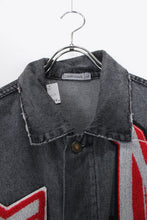 画像をギャラリービューアに読み込む, MADE IN ENGLAND 3RD EMBLEM DESIGN DENIM JACKET / TIRE BLACK [SIZE: M USED]