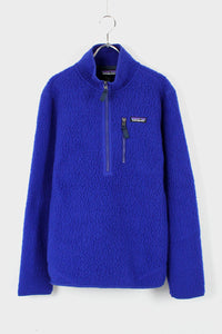 RETRO PILE SHERPA HALF-ZIP PULLOVER FLEECE JACKET / BLUE [NEW]