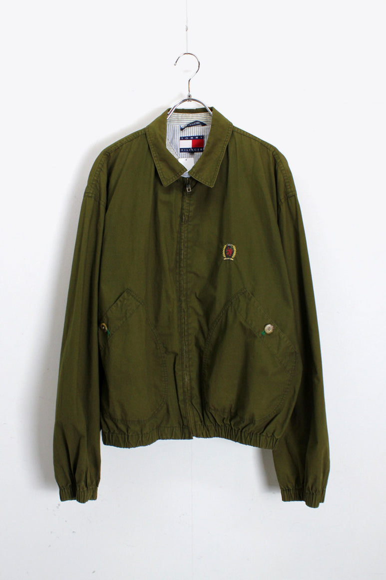 90'S COTTON SWING TOP / OLIVE [SIZE: M USED]
