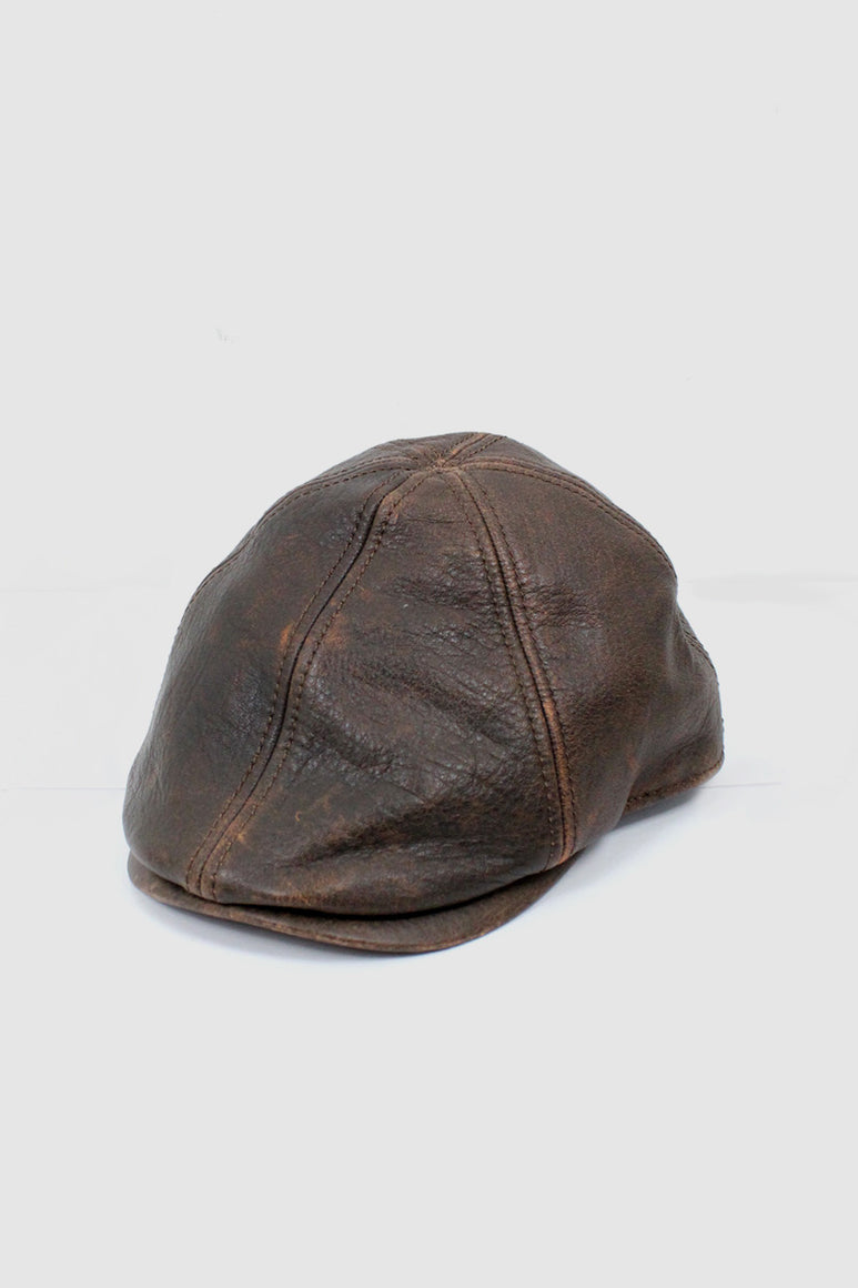 LEATHER HUNTING CAP / BROWN [SIZE: M USED]