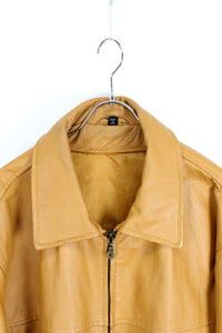 LEATHER ZIP JACKET / CAMEL [SIZE:XL相当 USED]