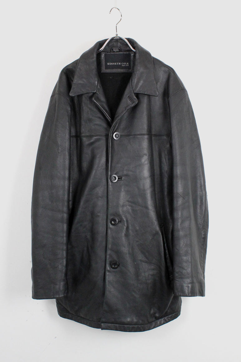 LEATHER COAT / BLACK [SIZE:L USED]