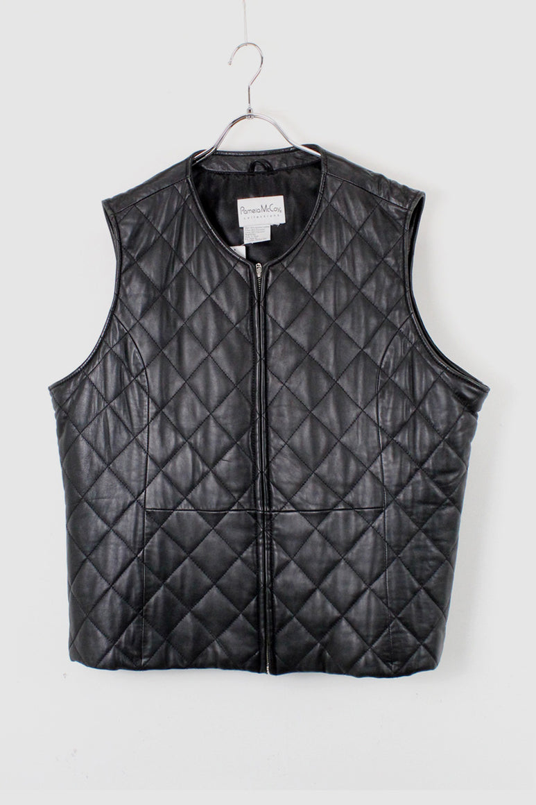LEATHER QUILTING VEST / BLACK [SIZE:M相当 USED]