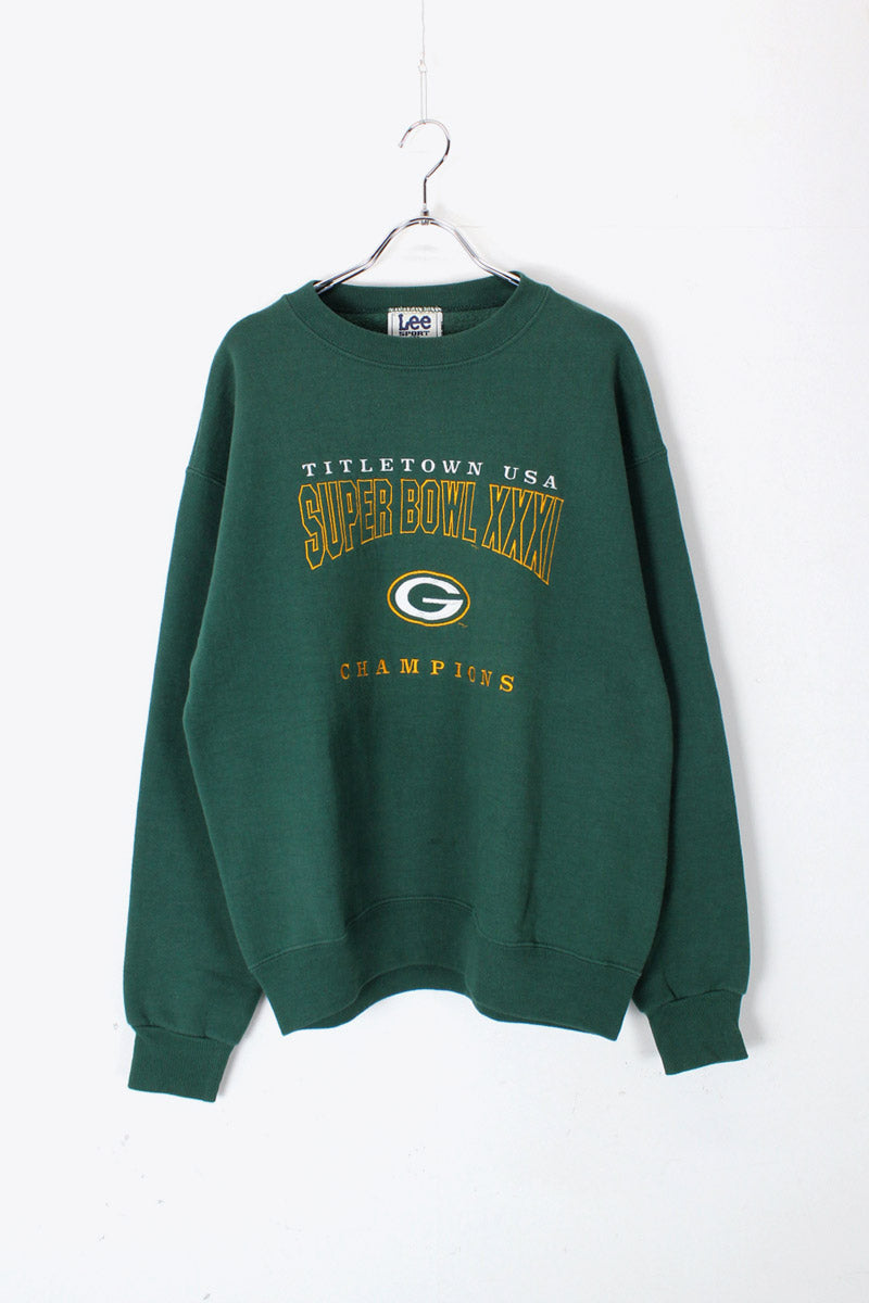 MADE IN USA 90'S PACKERS SUPER BOWL XXXL LOGO SWEAT SHIRT SHIRT / GREEN [SIZE: M USED]