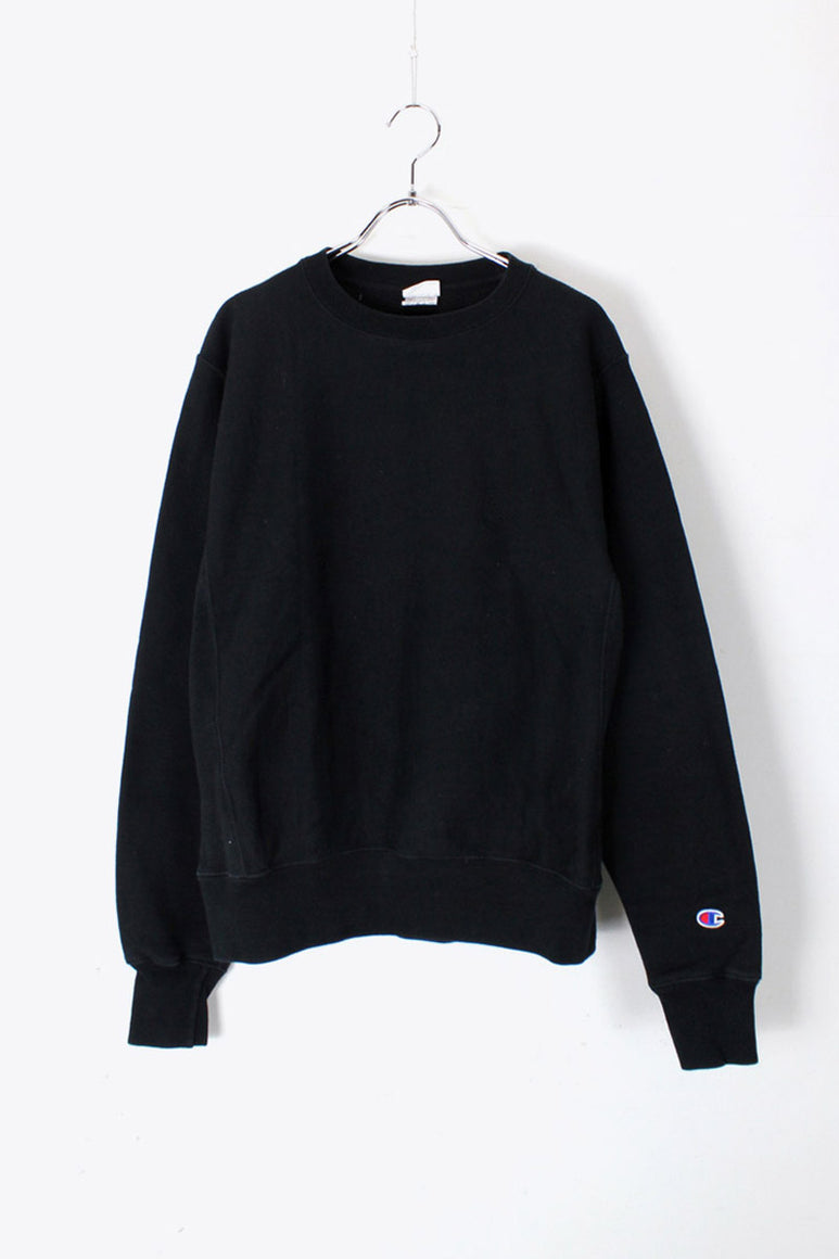 REVERSE WEAVE CREW NECK SWEAT SHIRT / BLACK [SIZE: S USED]