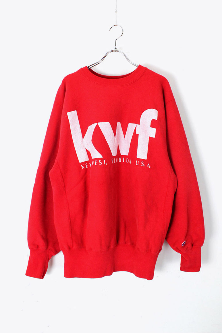 MADE IN USA 90'S KWF REVERSE WEAVE LOGO SWEAT SHIRT / RED [SIZE: XL USED]