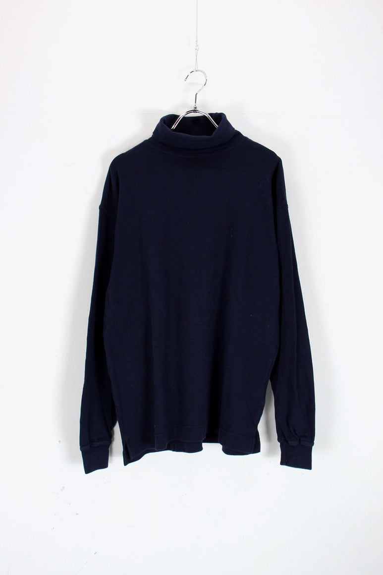 90'S TURTLE NECK CUT SAW / NAVY [SIZE: S USED]