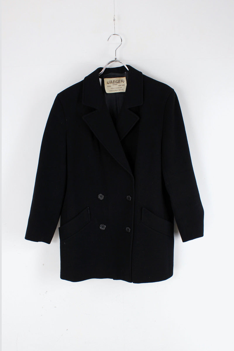 MADE IN GREAT BRITAIN 80'S WOOL TAILORED DOUBLE JACKET / BLACK [SIZE: M相当 USED]