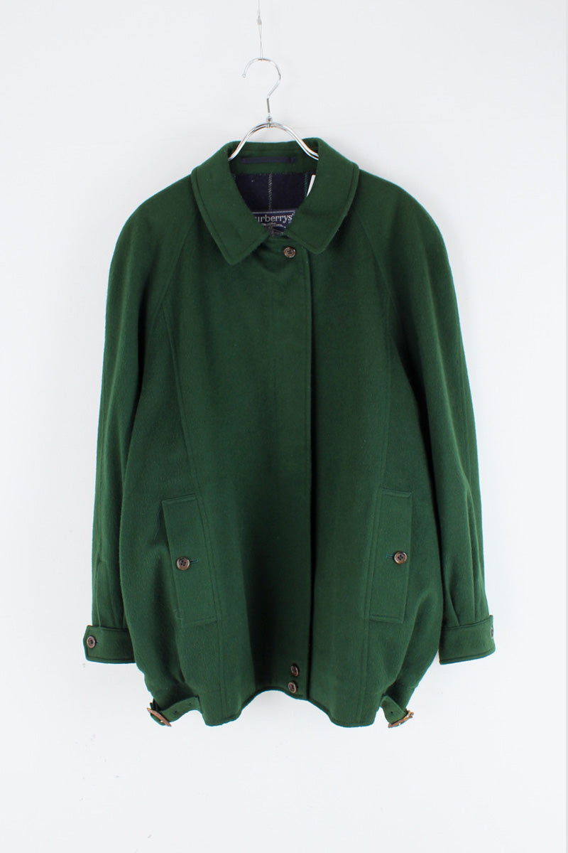 MADE IN ENGLAND 90'S WOOL ALPACA ZIP UP JACKET / GREEN [SIZE: M相当 USED]