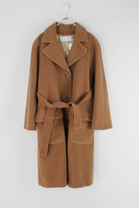 MADE IN ITALY 90'S WOOL TRENCH COAT / CAMEL [SIZE: L相当 USED]