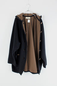 90'S WOOL PONCHO COAT / BLACK/CAMEL [SIZE: M相当 USED]