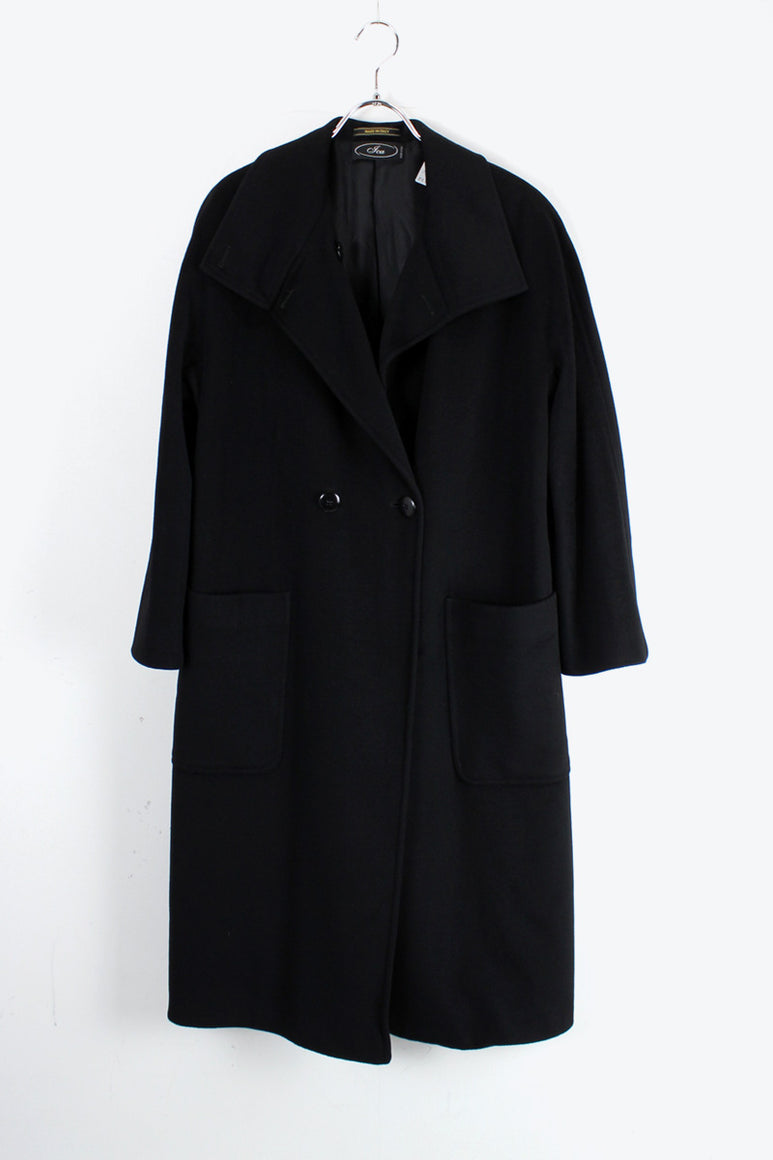 MADE IN ITALY LORO PIANA SUPER FINE WOOL COAT / BLACK [SIZE: L相当 USED]