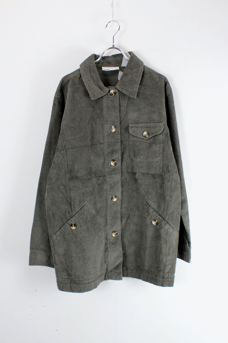 90'S CORDUROY BUTTON JACKET / GREY [SIZE: M USED]