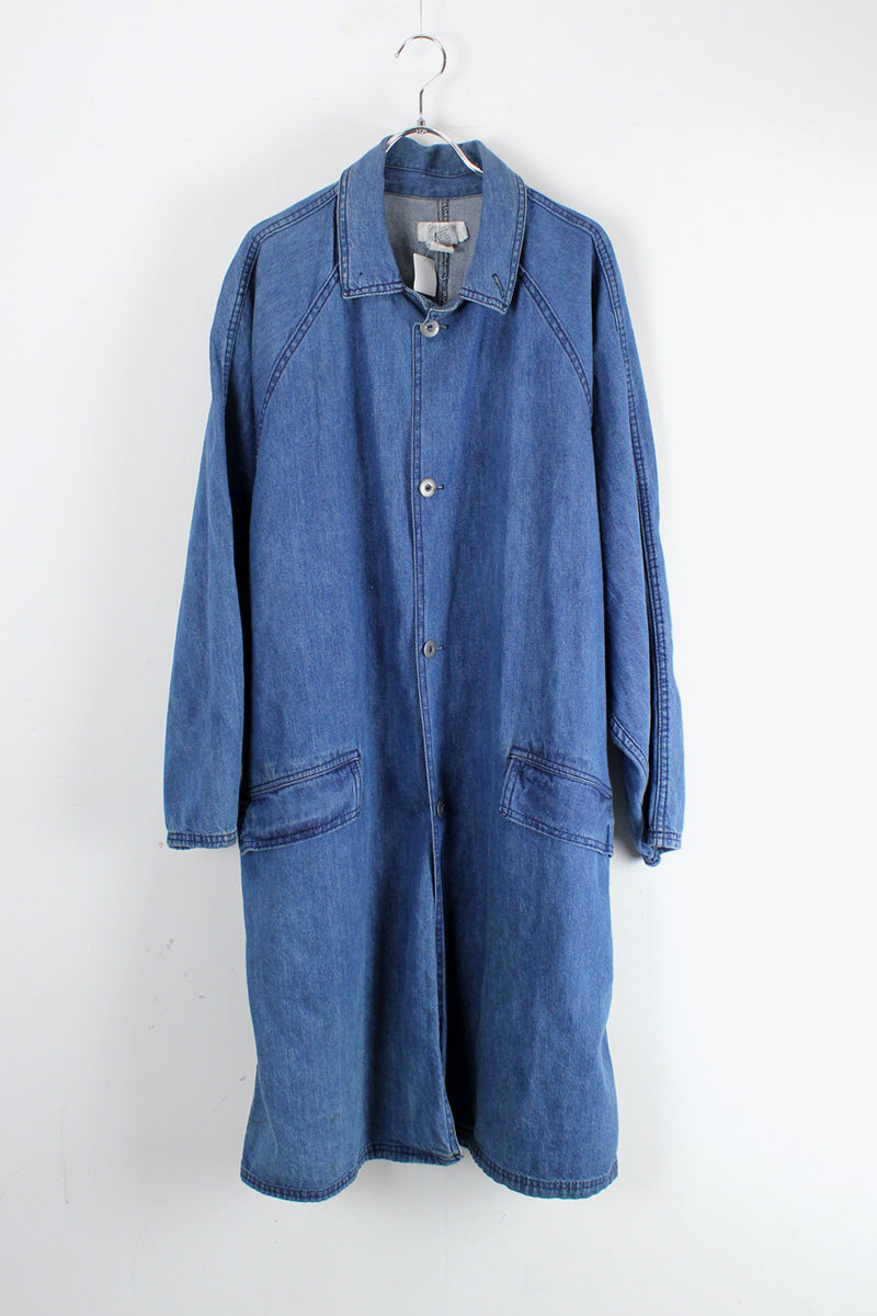 MADE IN USA 80'S DENIM WORK COAT / INDIGO [SIZE: L USED]