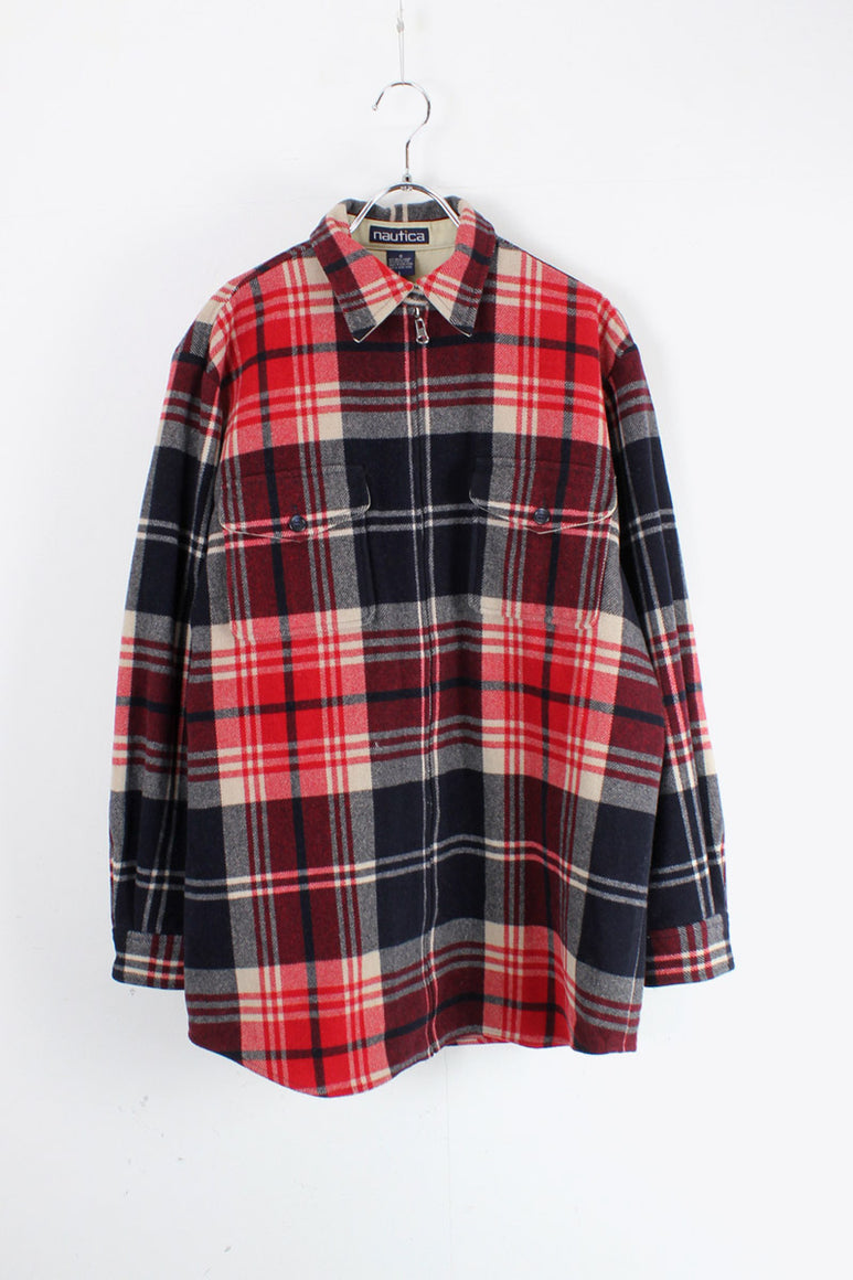 90'S WOOL CHECK ZIP SHIRT JACKET / RED/NAVY [SIZE: M相当 USED]