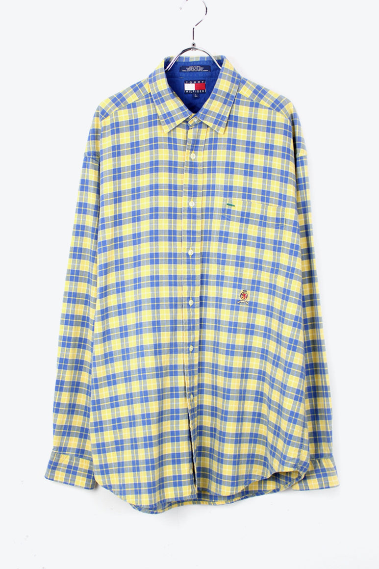 90'S L/S CHECK SHIRT / YELLOW/BLUE [SIZE: L USED][金沢店]