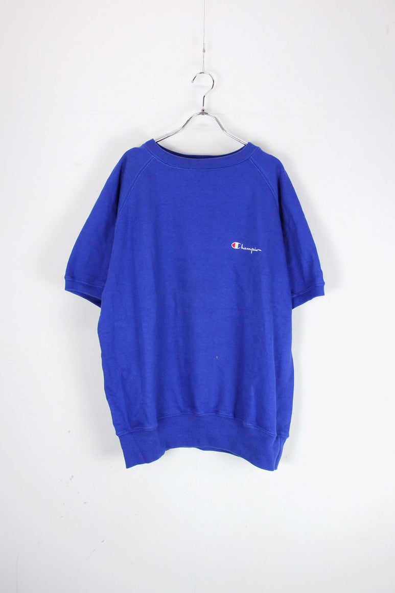 MADE IN USA 90'S S/S SWEAT T-SHIRT / BLUE [SIZE: XL USED]