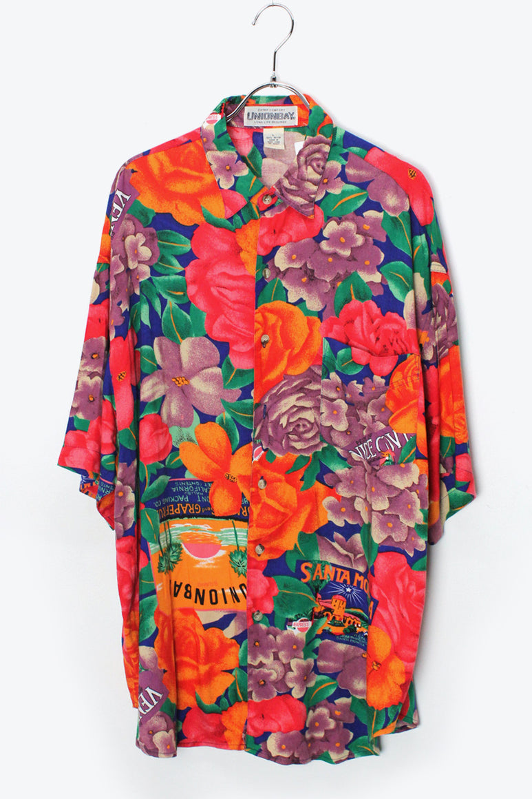 90'S S/S RAYON HAWAIIAN SHIRT / MULTI【SIZE:L USED】【金沢店】