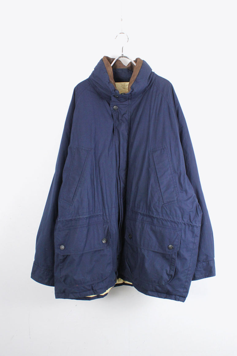90'S COTTON SHELL ELBOW PATCH DUCK DOWN JACKET / NAVY [SIZE: XXL USED]